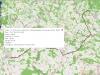 Ukázka trasy vybrané jízdy, kde zelené autíčko je začátek, červené konec, obrázek ukazuje, jaké informace se dají zobrazit v každém bodě trasy